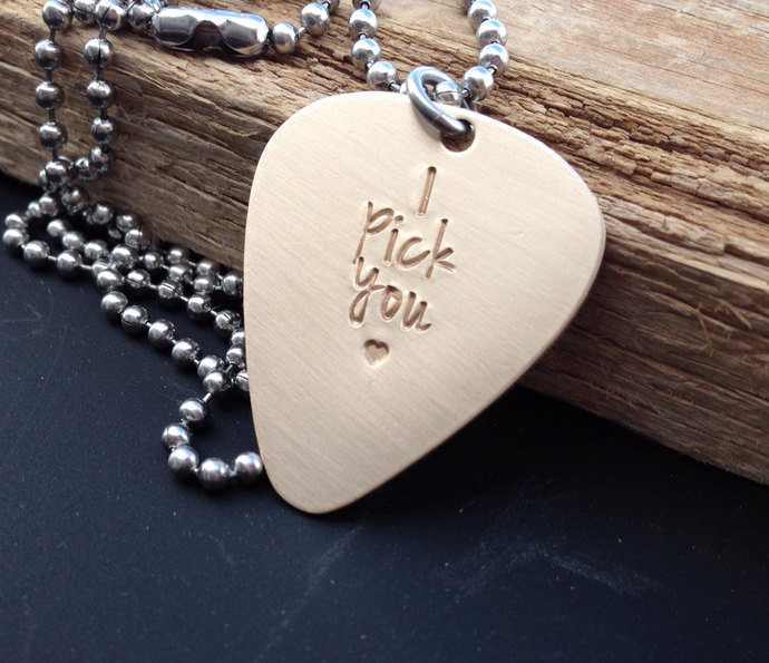 Guitar pick necklace hand stamped bronze pick I pick you gift for him 8 year