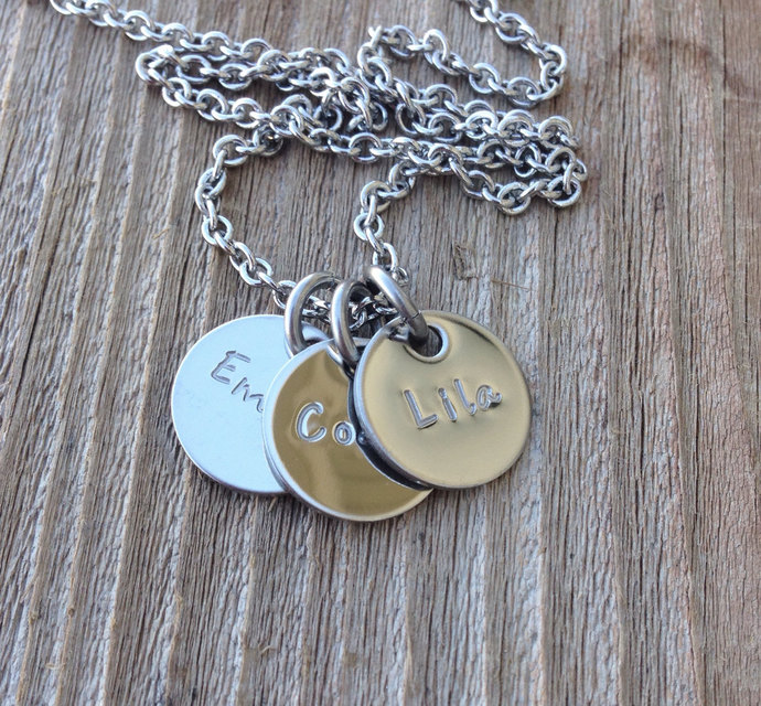 Hand stamped personalized mothers necklace stainless steel 1/2 inch discs