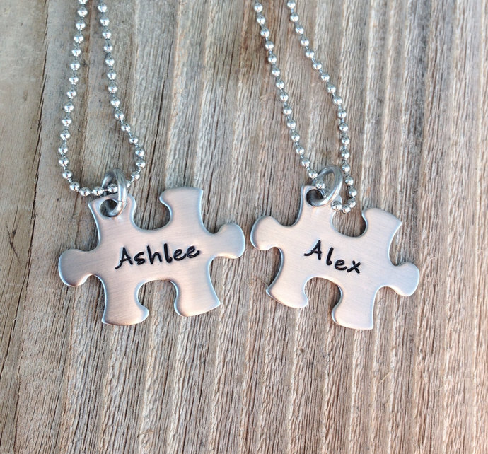 Mini puzzle piece necklace set customize with name,initial or heart  hand