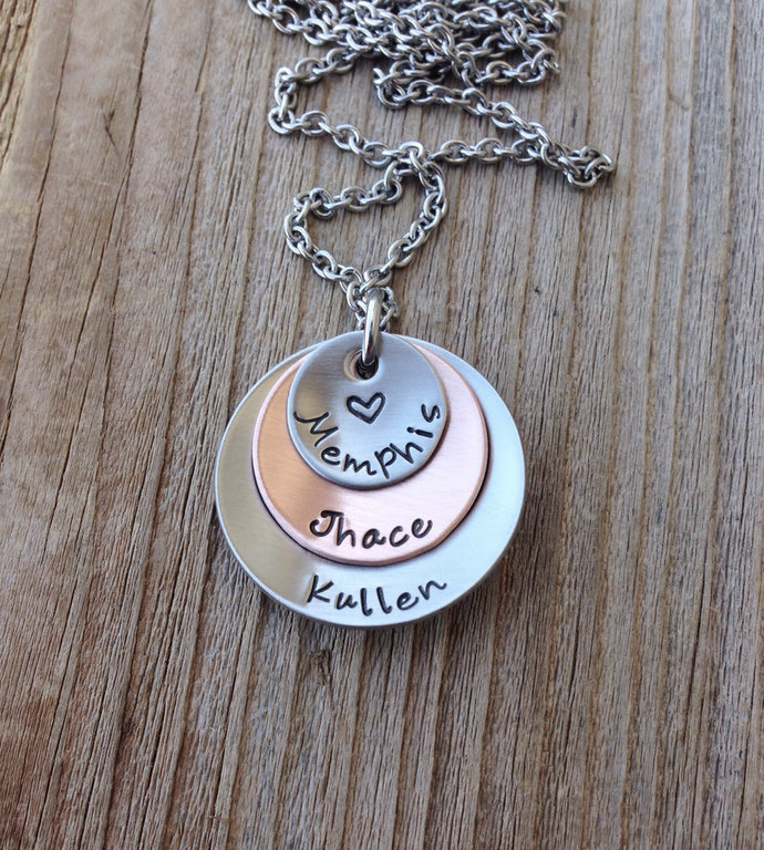 handstamped mom necklace jewelry custom name necklace gift for her grandma
