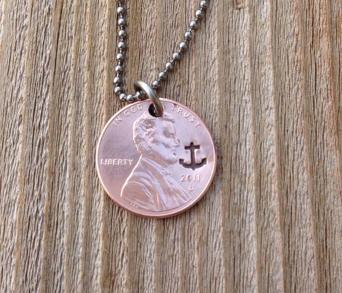 Lucky penny necklace 7 year anniversary , graduation gift anchor necklace