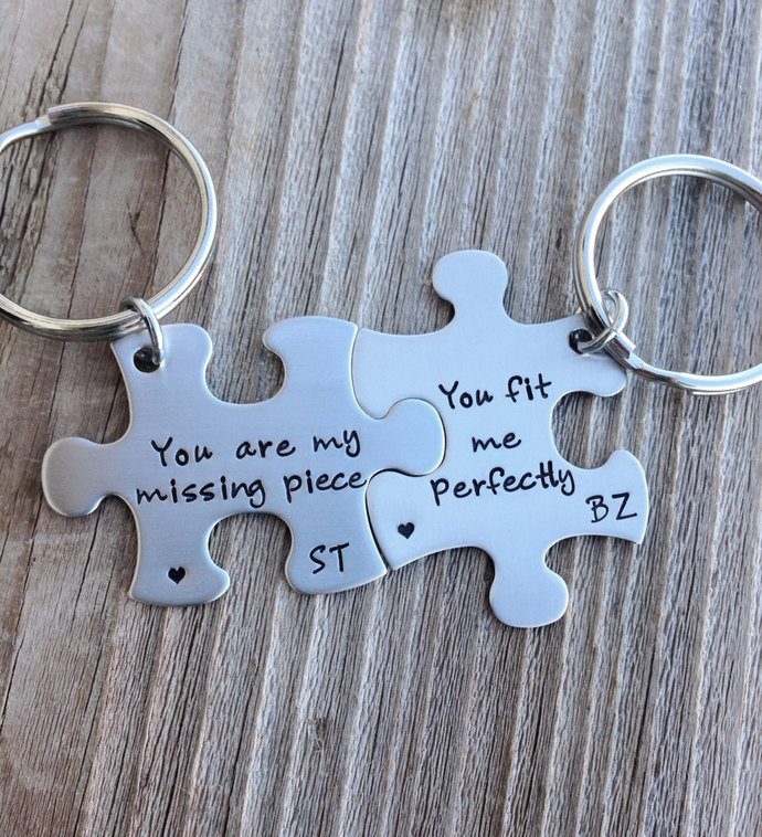 Puzzle piece keychains you are my missing piece hand stamped stainless steel set