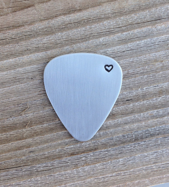 Guitar pick hand stamped heart stainless steel gift custom pick