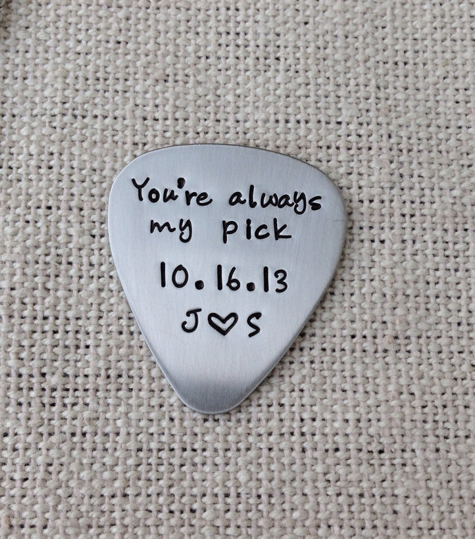 Hand stamped guitar pick custom 22 gauge stainless steel  gift for him or her