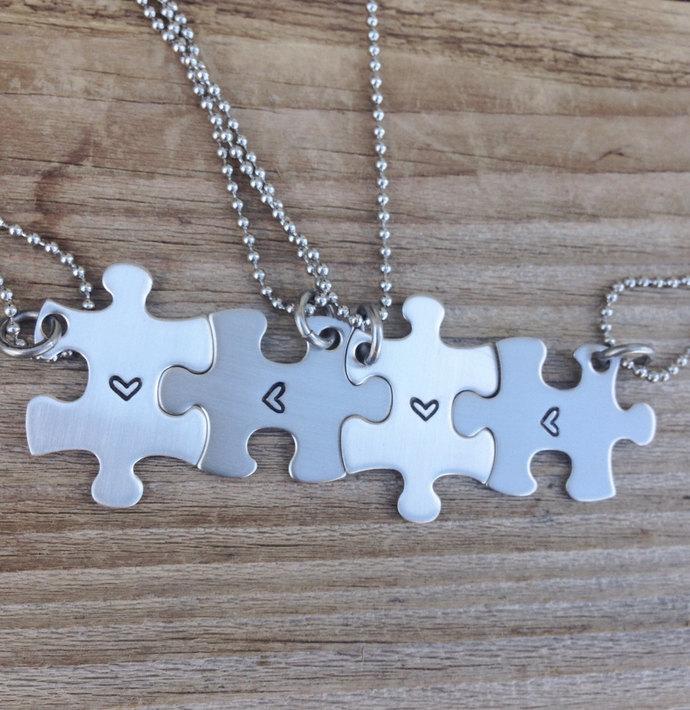 Mini puzzle piece necklace set hand stamped best friend, sisters ,bridesmaids