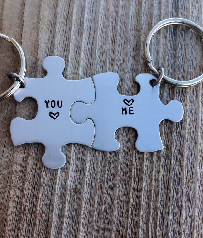 puzzle piece key chain set  his and hers you , me  gift for him gift for her