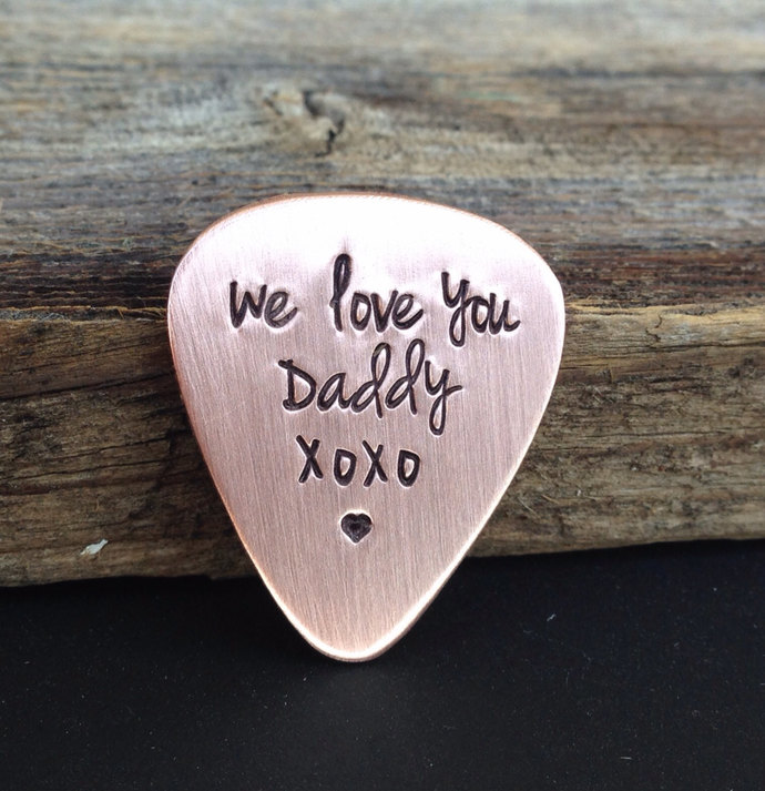 Guitar pick Copper hand stamped Daddy gift Fathers Day gift