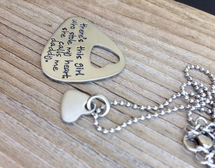 Guitar pick hand stamped Daddy Daughter gift guitar pick and necklace set