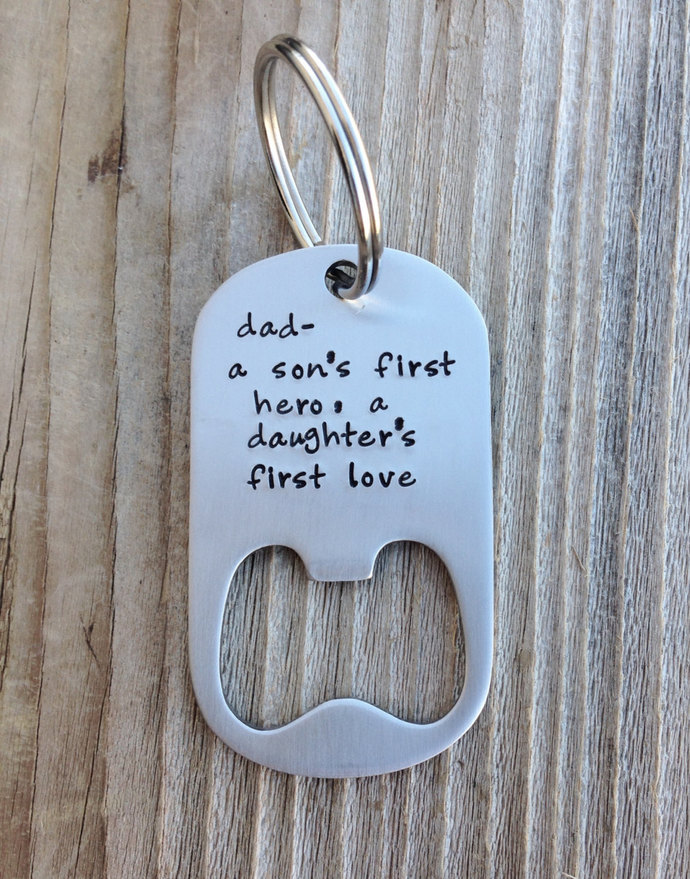 Daddy gift - Dad gift personalized bottle opener keychain hand stamped stainless