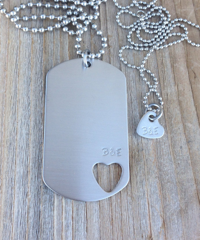 Hand stamped dog tag necklace set with initials open heart  stainless steel