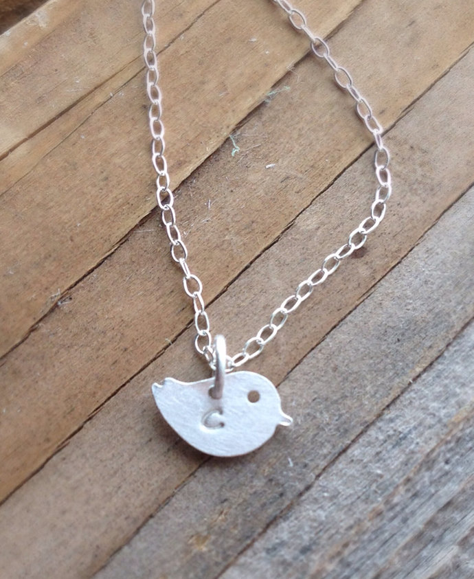 Tiny bird necklace hand stamped initial sterling silver delicate cable chain