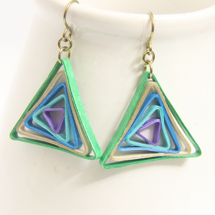 Triangle Swirl Geometric  Peacock Niobium Earrings - Eco Friendly Artisan Modern