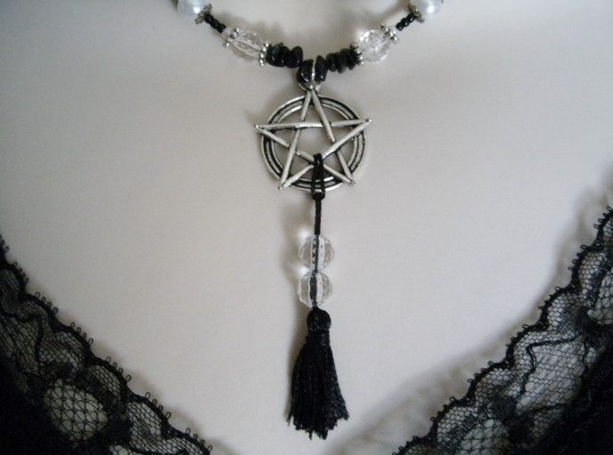 Pentacle Tassel Necklace, pagan jewelry wiccan wicca witch witchcraft goddess