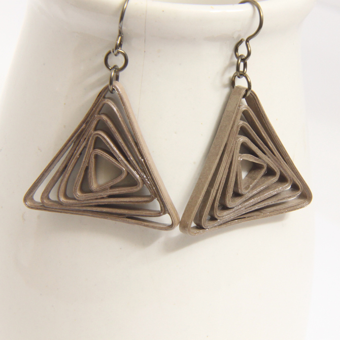 Triangle Swirl Geometric Taupe Niobium Earrings - Eco Friendly Artisan Modern