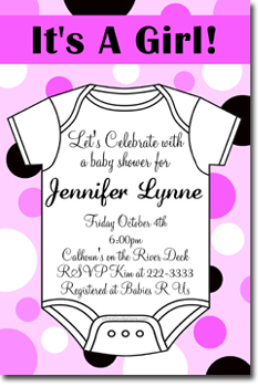 Onesie Polka Dot Baby Shower Invitations (Download JPG Immediately)