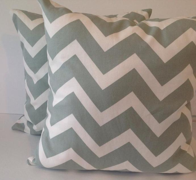18x18, chevron sage,set of 2 decorative pillow covers, cotton