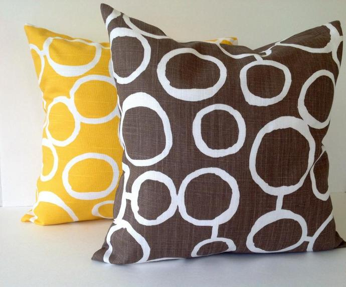 18x18,YELLOW & BROWN with white ,2 SET Decorative throw pillow Covers