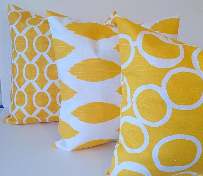 18x18,YELLOW & WHITE,3 SET Decorative throw pillow,mix match, Covers