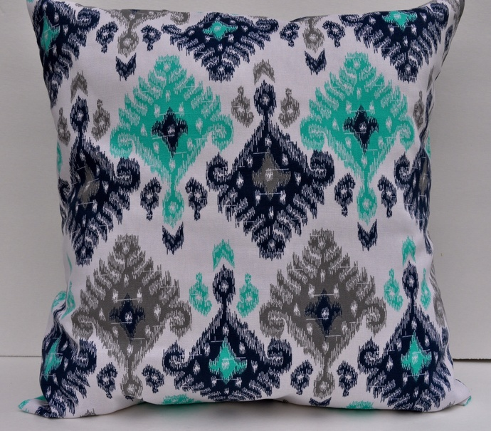 2 set Decorative Pillow cover,designer pillow,turquoise and white ikat,cotton