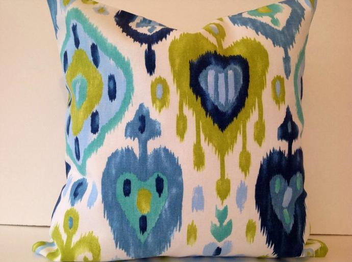 Decorative Pillow cover,Throw pillow covers,Dashka Azure,Cotton,geometric,16x16
