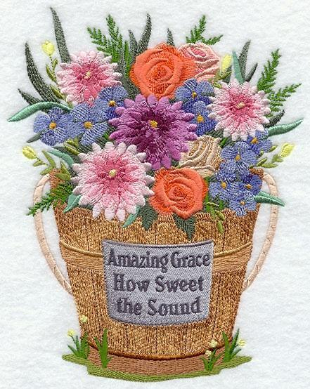 Embroidery Quilt block,Amazing Grace How Sweet the Sound,quilting block
