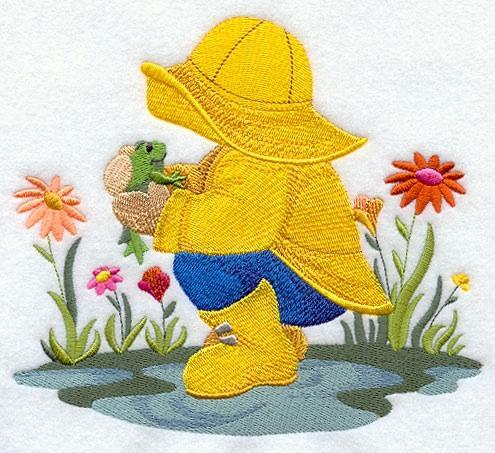 Embroidery Quilt block,April Showers Fisherman Fred,quilting, block,