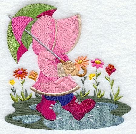 Embroidery Quilt block,April Showers Sunbonnet Sue,quilting, block,