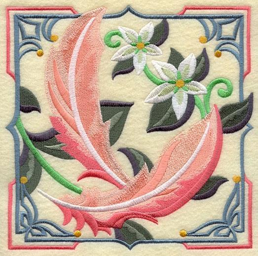 Embroidery Quilt Block,Art Deco Flamingo Feathers,quilting block,
