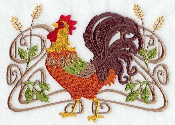 Embroidery Quilt Block,Art Nouveau Rooster,quilting block,