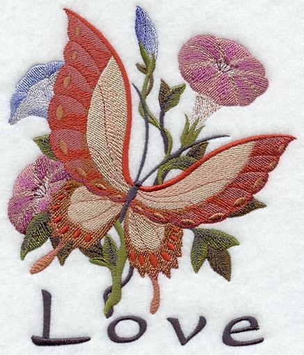 Embroidery Quilt Block,Asian Butterfly of love,quilting block,