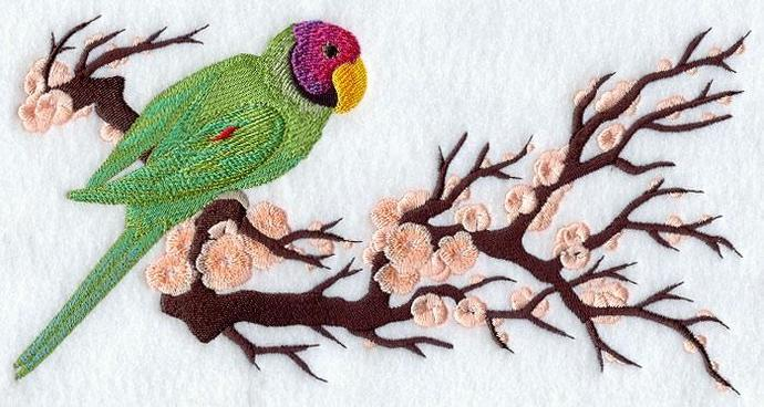 Embroidery Quilt block,Asian parakeet ,quilting block,