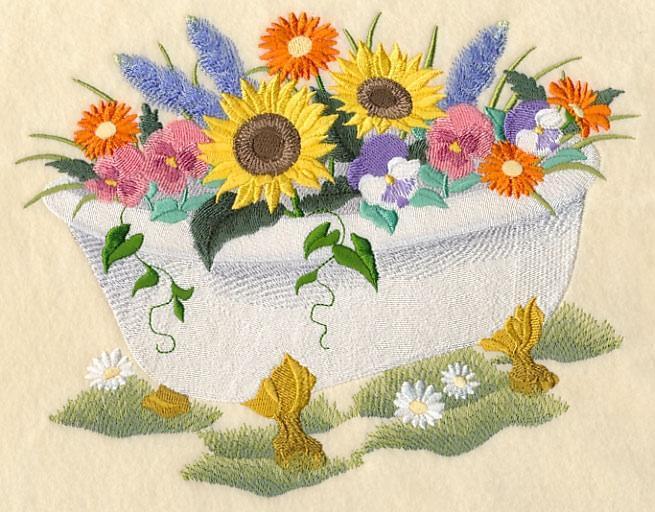 Embroidery Quilt block,Bathtub Bouquet,quilting block