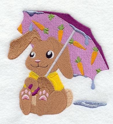 Embroidery Quilt block,Becca Bunny Under Umbrella,quilting block,