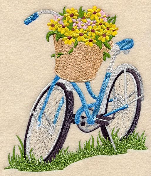 Embroidery Quilt block,Bicycle built for bloom ,quilting block