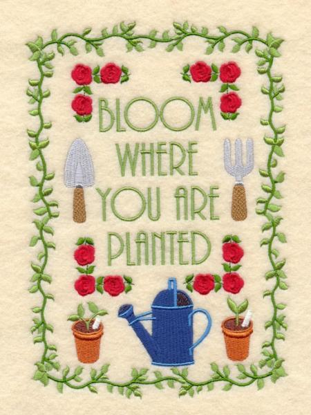 Embroidery Quilt block,bloom where you are planted,quilting block