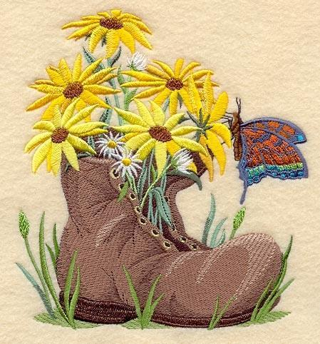 Embroidery Quilt block,Blooms in a boot,quilting block