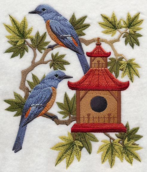 Embroidery Quilt Block, Blue Rock Thrushes and Birdhouse,quilting block,