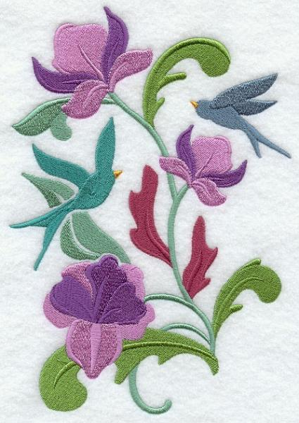 Embroidery Quilt block,Bluebird Spring Nouveau,quilting block
