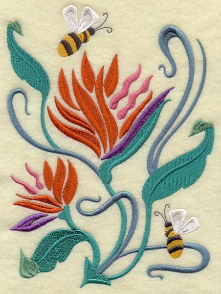 Embroidery Quilt block,Bumblebee Spring Nouveau I,quilting block