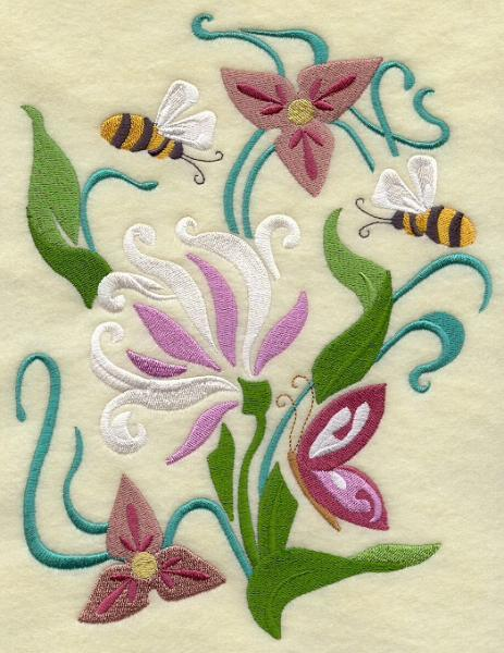 Embroidery Quilt block,Bumblebee Spring Nouveau II,quilting block