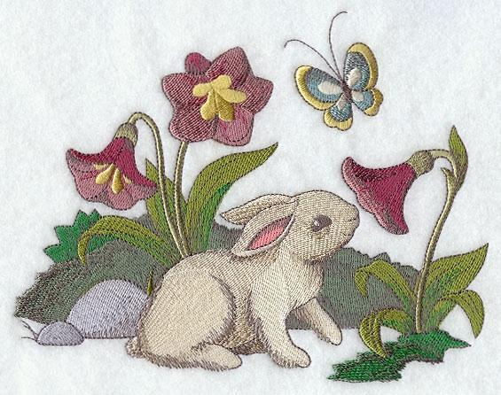 Embroidery Quilt block,Bunny and flowers,quilting block,