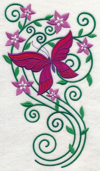 Embroidery Quilt block,Burst of Spring Butterfly 1,quilting block