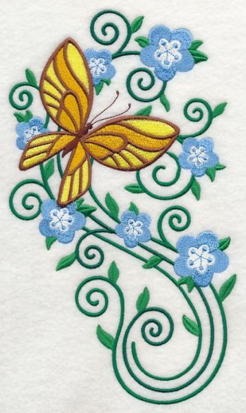 Embroidery Quilt block,Burst of Spring Butterfly 2,quilting block
