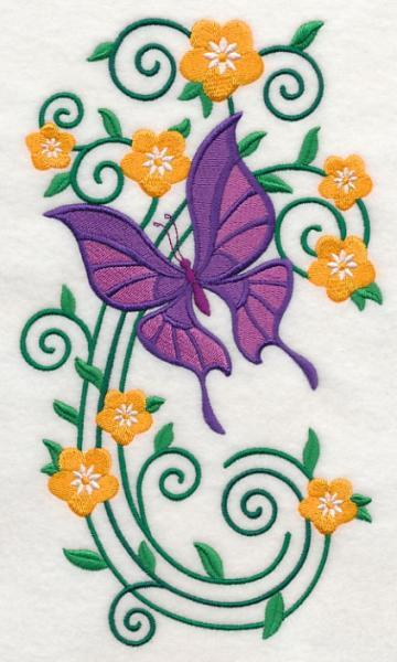 Embroidery Quilt block,Burst of Spring Butterfly 3,quilting block