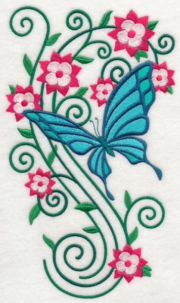 Embroidery Quilt block,Burst of Spring Butterfly 4,quilting block