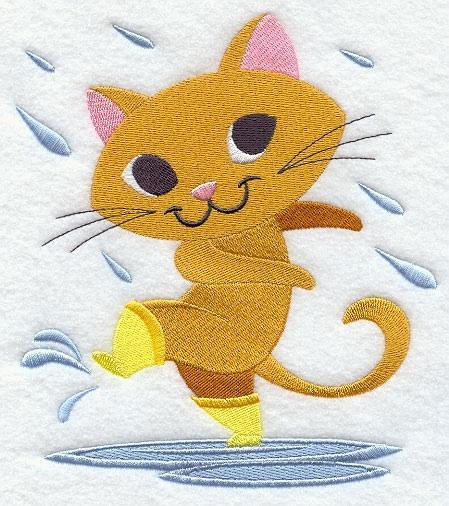 Embroidery Quilt block, Cat Dancing in the rain,quilting, block,