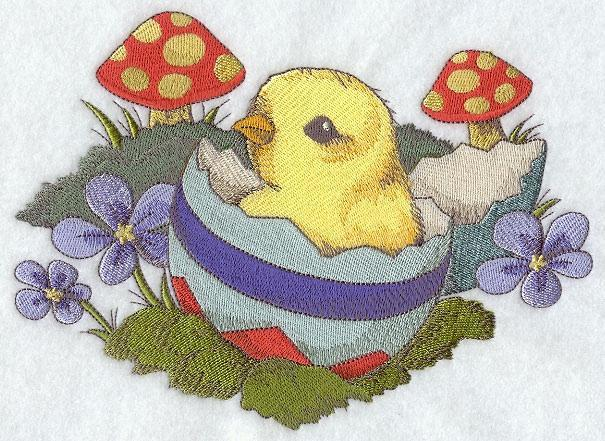Embroidery Quilt block,Chick in egg shell,quilting block,