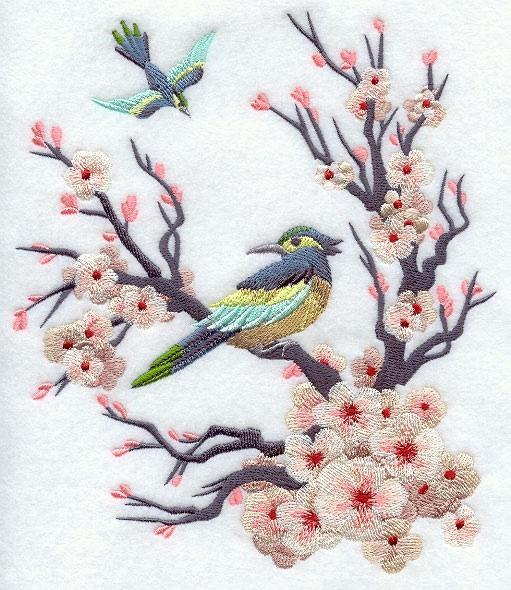 Embroidery Quilt Block, Chinoiserie Bird and Bloom Scene  ,quilting, block,
