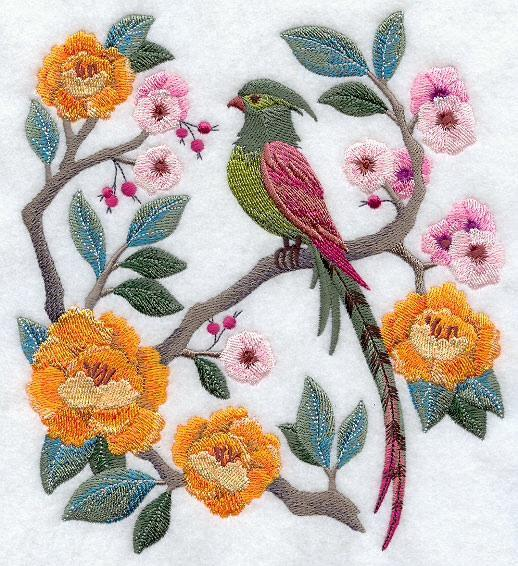 Embroidery Quilt Block, Chinoiserie Bird and Flowers Scene,quilting, block,