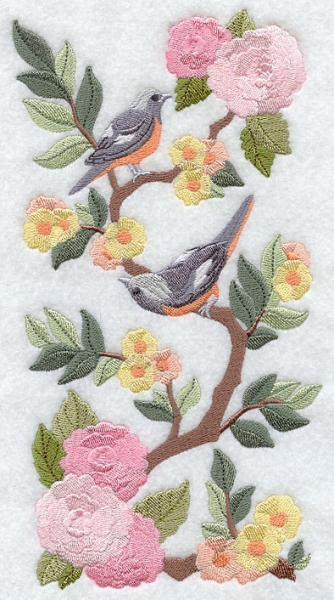 Embroidery Quilt Block,Chinoiserie Daurian Redstarts Panel,quilting block,